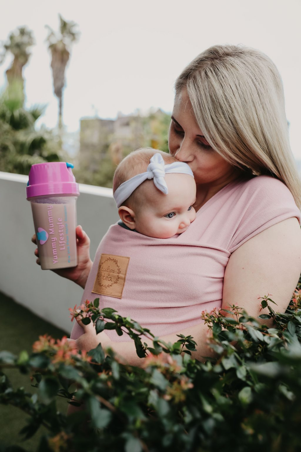 Mommy-on-the go lite with baby wrap and collagen protein shake